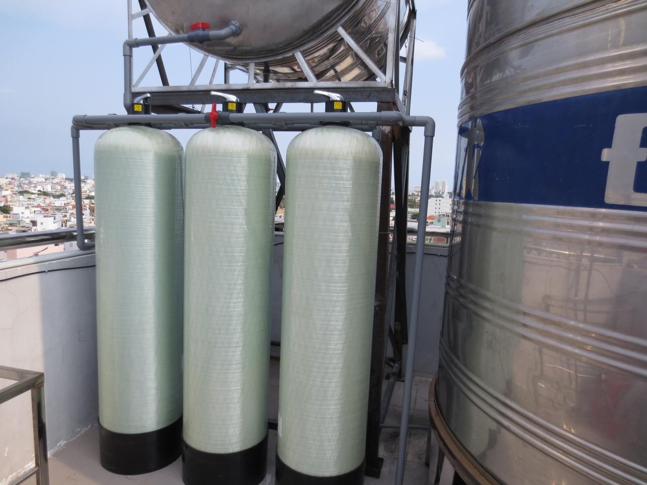Lọc nước giếng khoan với hệ thống 3 trụ lọc bằng composite
