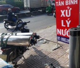 Loc nuoc gieng inox 220 van 3 nga di Binh Phuoc