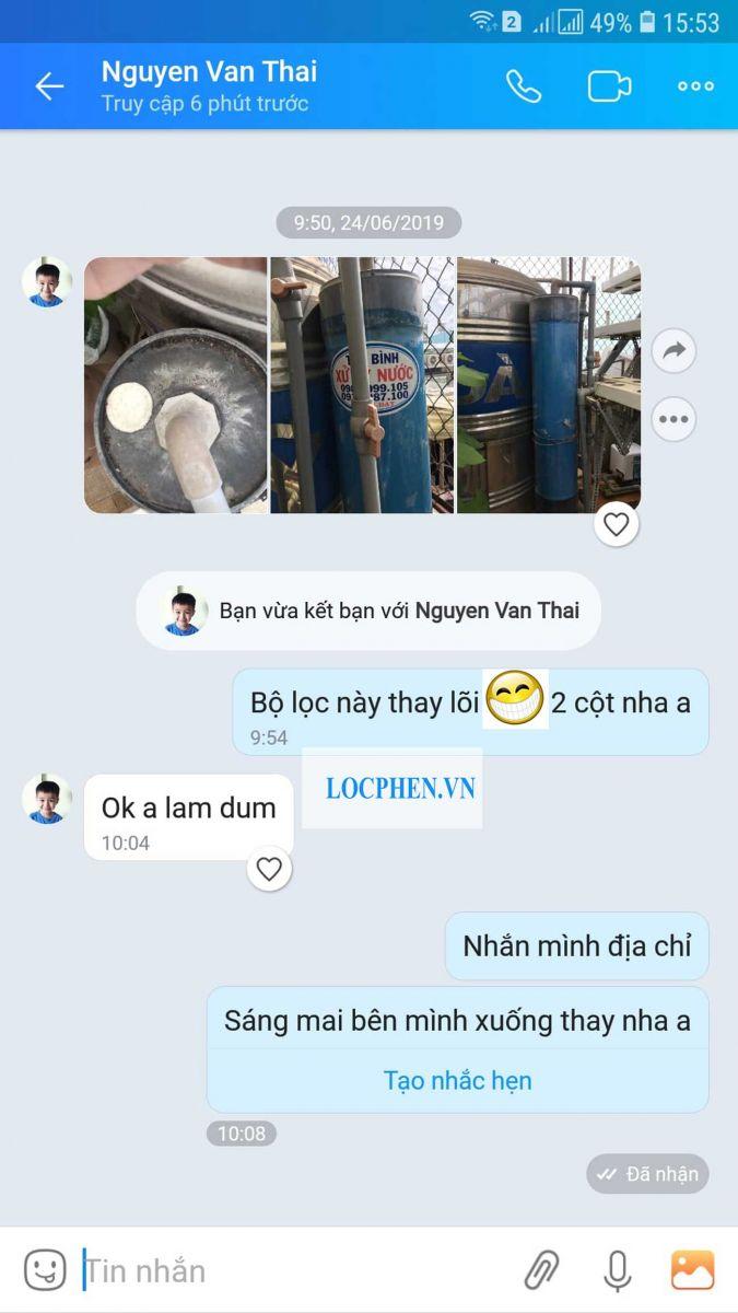 Trao đổi giữa anh Thái và công ty Tân Bình