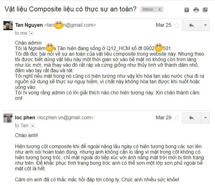 email thac mac cua khach hang ve cot loc nuoc composite