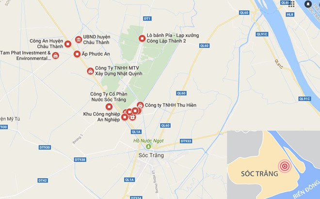 Khu công nghiệp An Nghiệp giáp ranh huyện Châu Thành và TP Sóc Trăng. Ảnh: Google Maps.